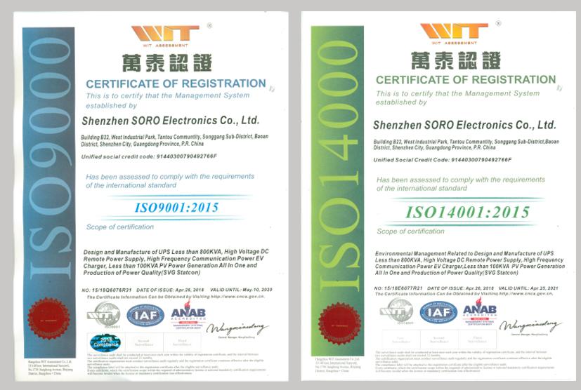 Soro Electronics Rosh Certificate
