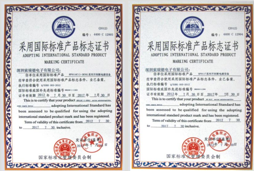 Soro Electronics International Standard Certificate