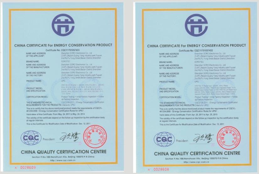 Soro Electronics CQC Certificate